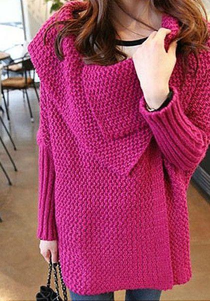Batwing Sweater Coat - Plum - Chunky Knit Sweater