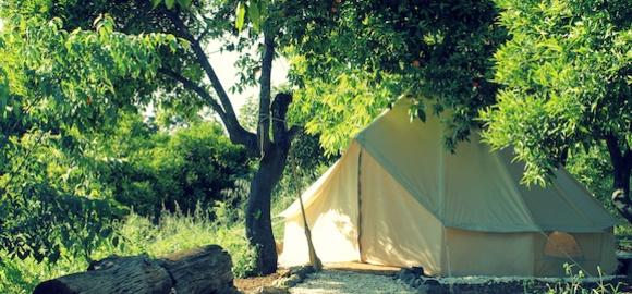 tent under trees, casa de laila, spain