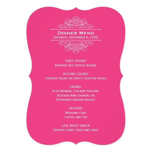 Wedding Dinner Menu Card | Hot Pink