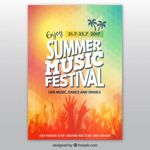 Affiche du festival de musique d'été Colorful Vecteur gratuit