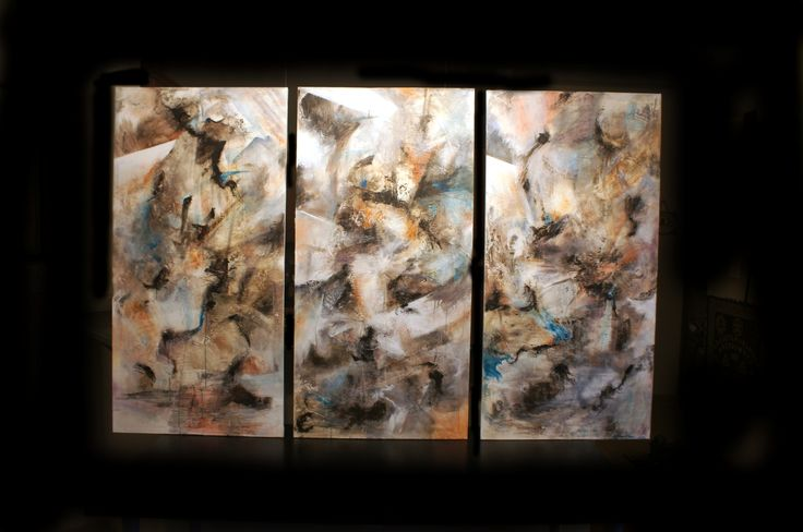 "Abstract painting ""Numinous"" triptych by Shane Moser www.shanemoser.com"