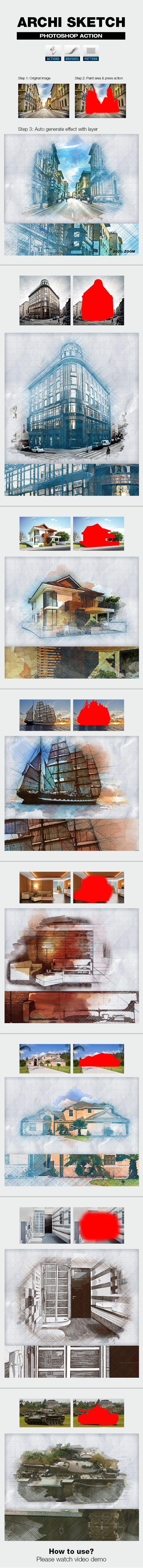 Archi Sketch #photoshop #atn #image • Download ➝ https://graphicriver.net/item/archi-sketch/18712177?ref=pxcr