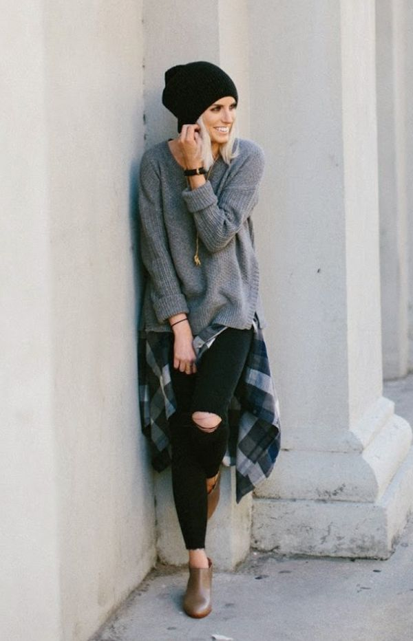 Look comfy tricot, camisa xadrez e gorro
