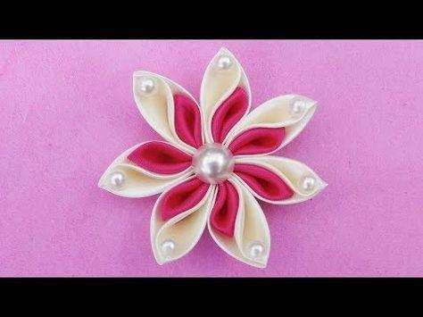 DIY Ribbon Flower I How To Make Kanzashi Ribbon Flower I Flower Hair Clip Tutorial - YouTube