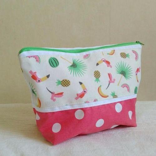 Trousse de toilette fille coton enduit rose pois motifs toucan ananas pastèque