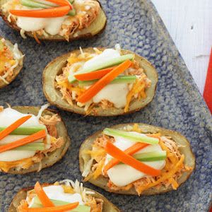 Skinny Buffalo Chicken Potato Skins Recipe | Yummly
