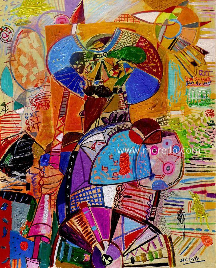 """José Manuel Merello.-""""Don Quijote Alucinado"""" (100x81 cm) Arte contemporáneo. Pintores españoles actuales. Color y Decoración en el Arte Moderno. Inversión en arte."""