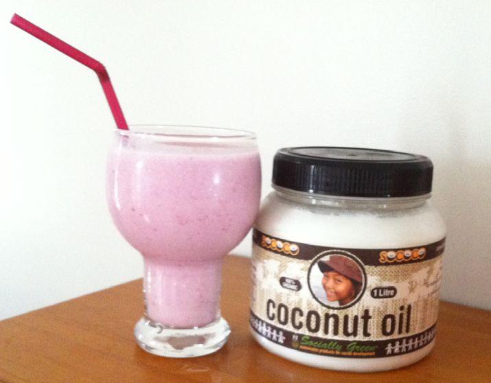 Raspberry, Banana, coconut smoothie