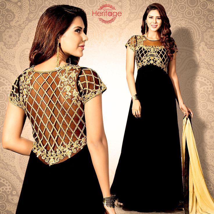 Black Georgette Floor Length Embroidered Anarkali Suit