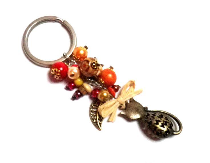 Porte-clés Chat Bronze Thème Automne Grappe de perles dans les tons orange, rouge, jaune : Porte clés par milaekem-bijoux