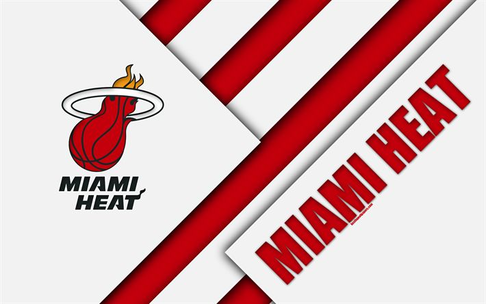 Download wallpapers Miami Heat, 4k, logo, material design, American Basketball Club, white red abstraction, NBA, Miami, Florida, USA, basketball
