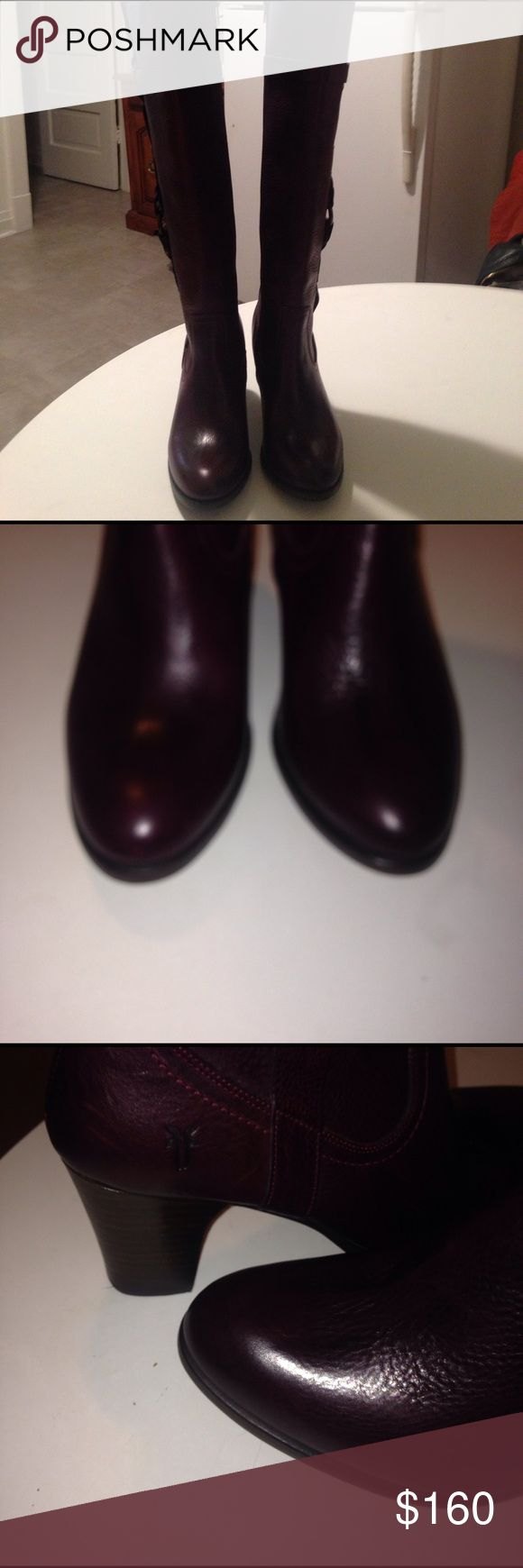 NWOT FRYE KNEE HIGH BOOTS💥💥sale Burgundy pebble leather. Belted & hook detail on outer leg. Zips on inner leg. Logo on outer heel.  Leather signature soles. Signature hardware.  Belted top rim design. 14' calfs. Has small platforms. 3' heels. Minor scratch on one sole from tag removal. Brand new never worn. A beauty Frye Shoes Winter & Rain Boots