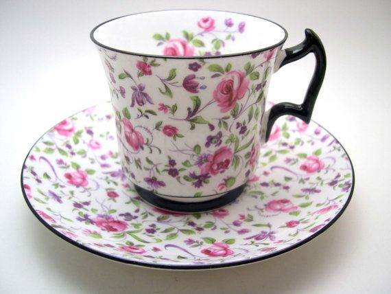 Royal Chelsea Chintz Tea Cup and Saucer, Royal Chelsea teacup with Pink Roses, Black Rims, English Fine Bone China