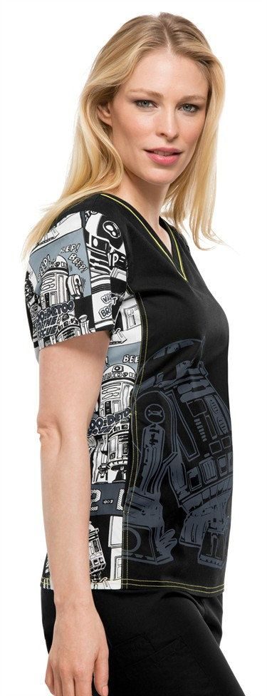 Cherokee Tooniforms R2 to the Rescue Star Wars print scrub top | Scrubs and Beyond