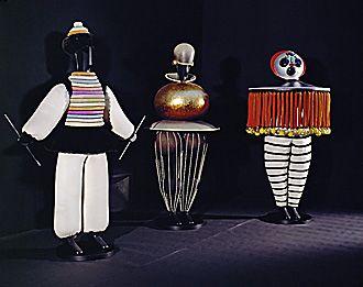 """Oskar Schlemmer, """"Three Figurines for Das Triadisch Ballet"""" 1919-1922. Bauhaus Costume Design."""