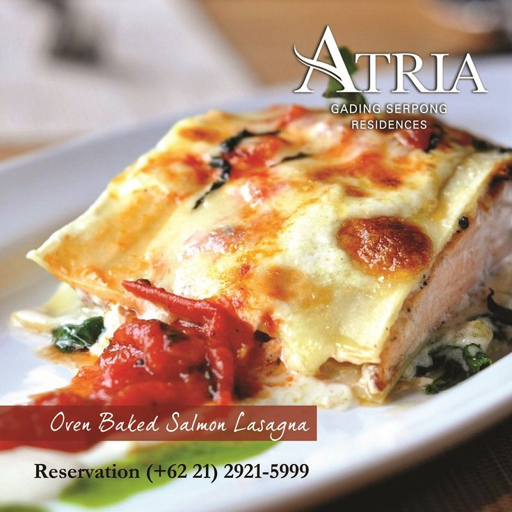 Oven Baked Salmon Lasagna Lasagna oven baked a la minute and freshly cooked with salmon.