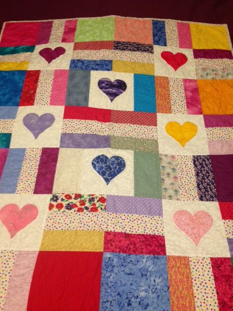 Scrappy hearts quilt for Project Linus - January 2016.