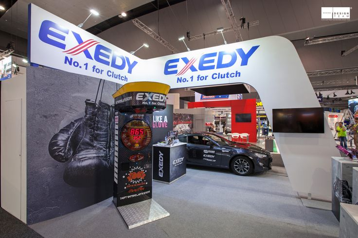 EXEDY @ AAAE Exedy is a high profile company within the automotive industry. Exedy requires a stand with strong branding in order to maximise their presence at the Australian Aftermarket Automotive Expo.  All stand elements are designed to be easily packed down for re-use at future shows.