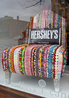 "What if your chair was filled with your favorite candies ... like this one, filled with Wonkas ... Kazoozles, Spree, Nerds, Bottlecaps... What candy would you choose? | A storefront display at a candy shop called ""Sweet Thing""  - Originally pinned from http://anadesigns.blogspot.com/2011/01/candy-chair.html"
