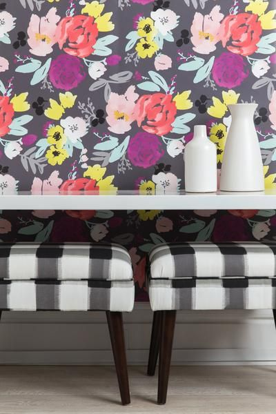 One of our favorite florals now in wallpaper. Bold watercolor botanicals in…
