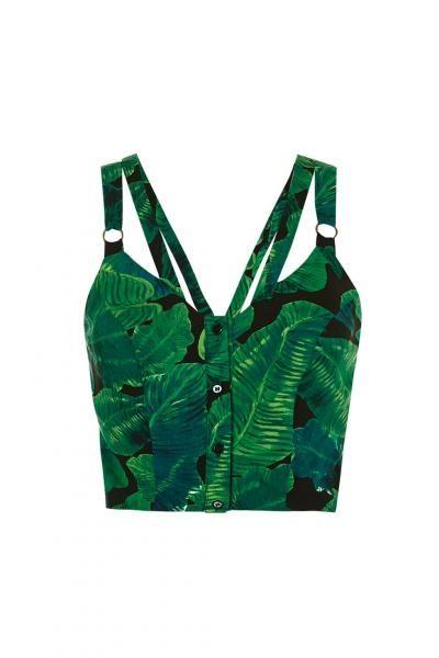 Palm print crop top xx