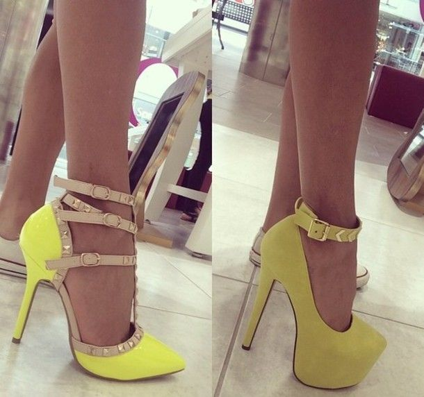 Yellow heels, Ankle straps and Heels on Pinterest