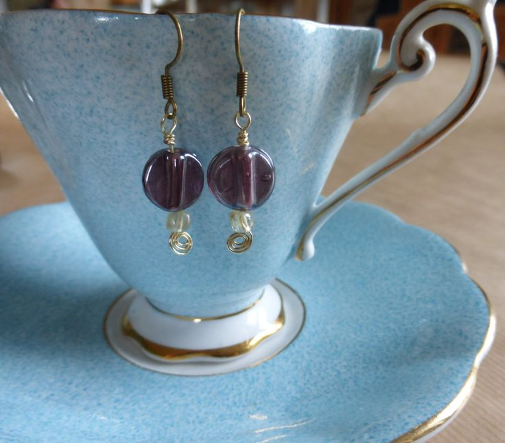 Earrings: Purples Glass Beads With Champagne Gold Wire Spirals by TheCatAndTheClasp on Etsy