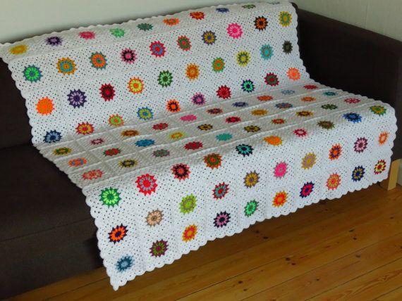 """White Throw Blanket Colorful Throw Blanket 50"""" x 50"""""""