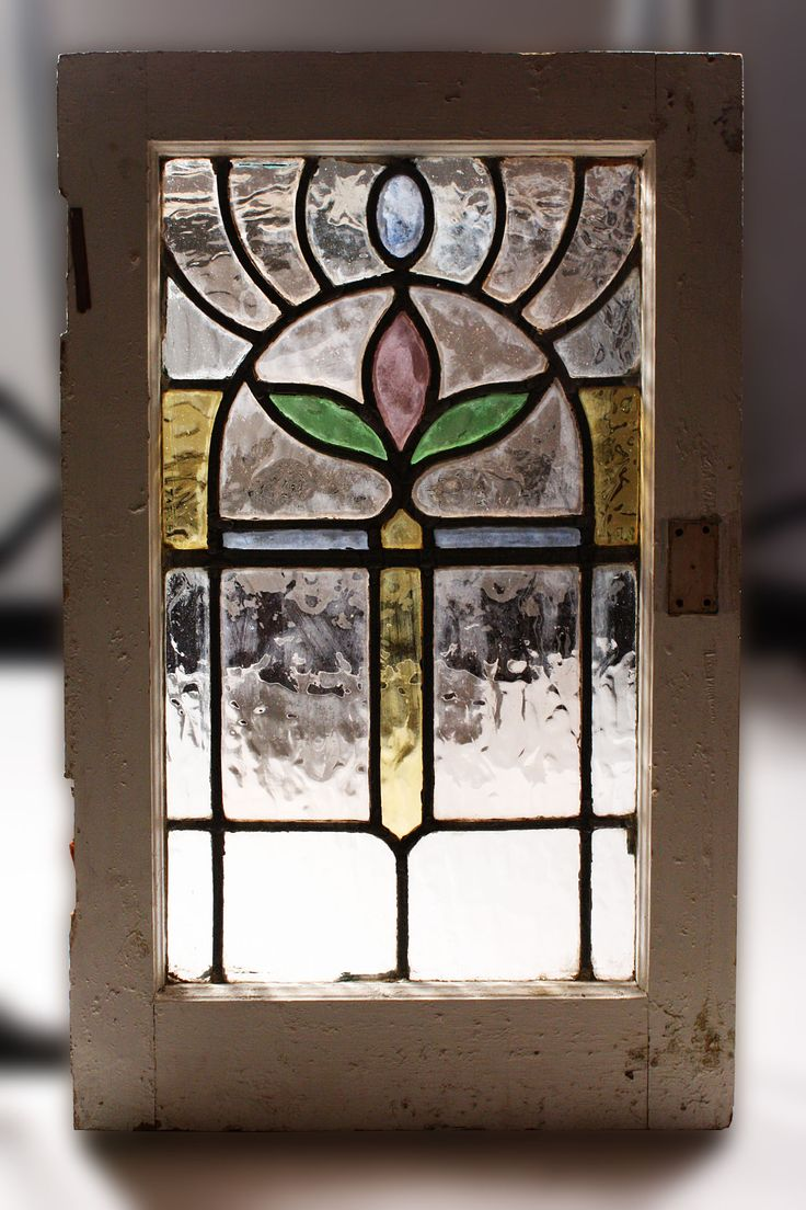 Antique Art Nouveau Stained Glass Window | Gorgeous Antique Art Nouveau American Stained Glass Window, Matching ...