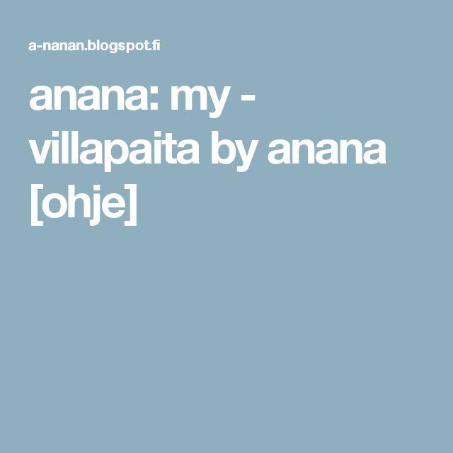 anana: my - villapaita by anana  [ohje]