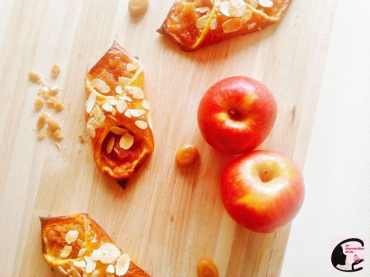 pomme, compote, fruit, bonbon, caramel, chausson, amande effilée, goûter