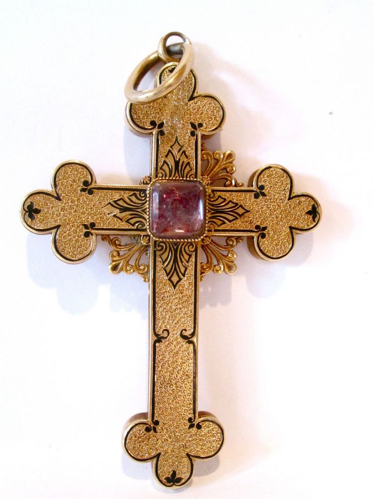 ANTIQUE 14K GOLD CROSS,VERY LARGE DECORATED WITH AMETHYST AND ENAMEL,BEAUTIFUL