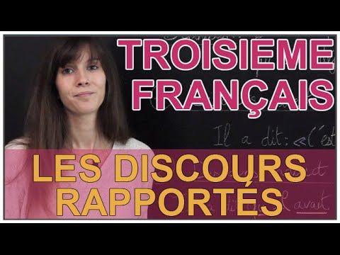 Une vidéos de cours sur l'utilisation des discours rapportés en 3e. Plus de vidéos et d'exercices gratuits sur http://www.lesbonsprofs.com/notions-et-exercic...