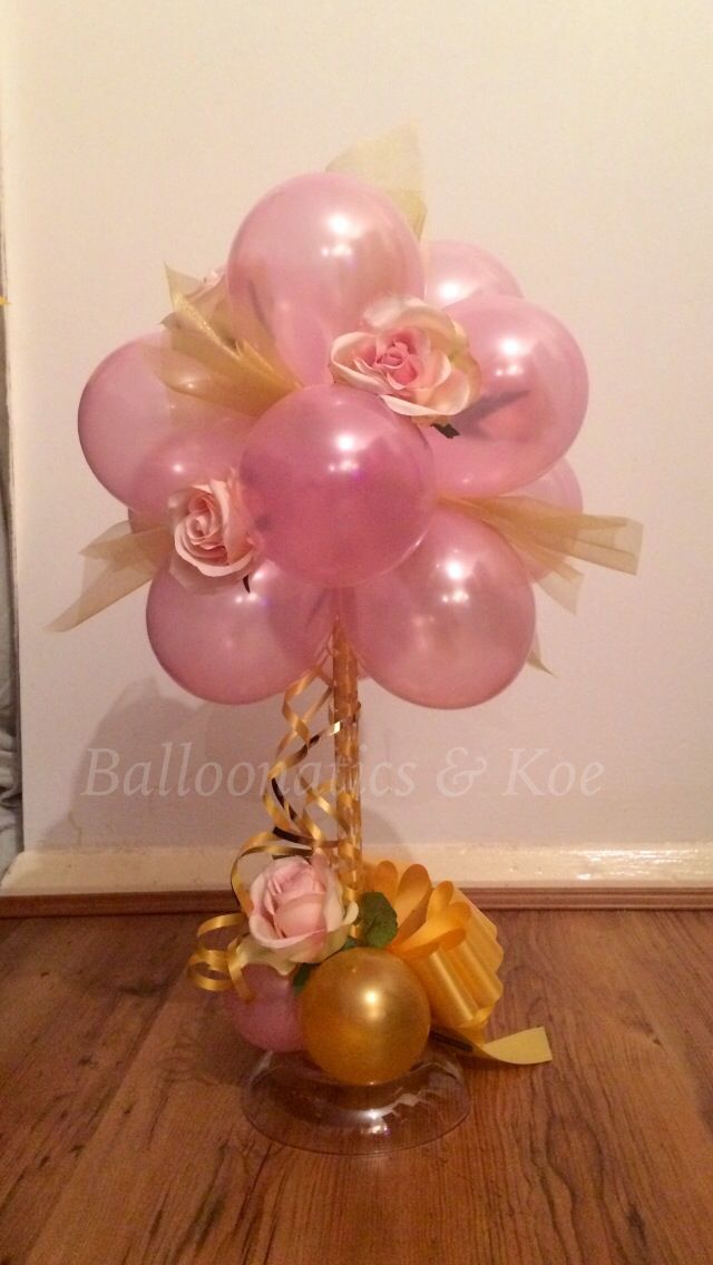 Pink and gold Topiary centre piece balloon fit for a wedding                                                                                                                                                                                 More