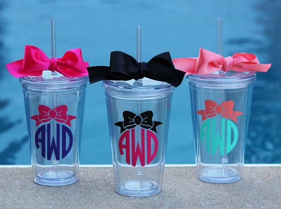 Personalized Bow Monogram Acrylic Tumblers by alishasdesigns  They have these at Walkers right now! Not a fan of this style, but they have a couple of varieties at Walkers!