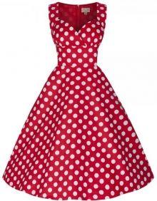 LindyBop retro šaty Layla, červené s puntíky