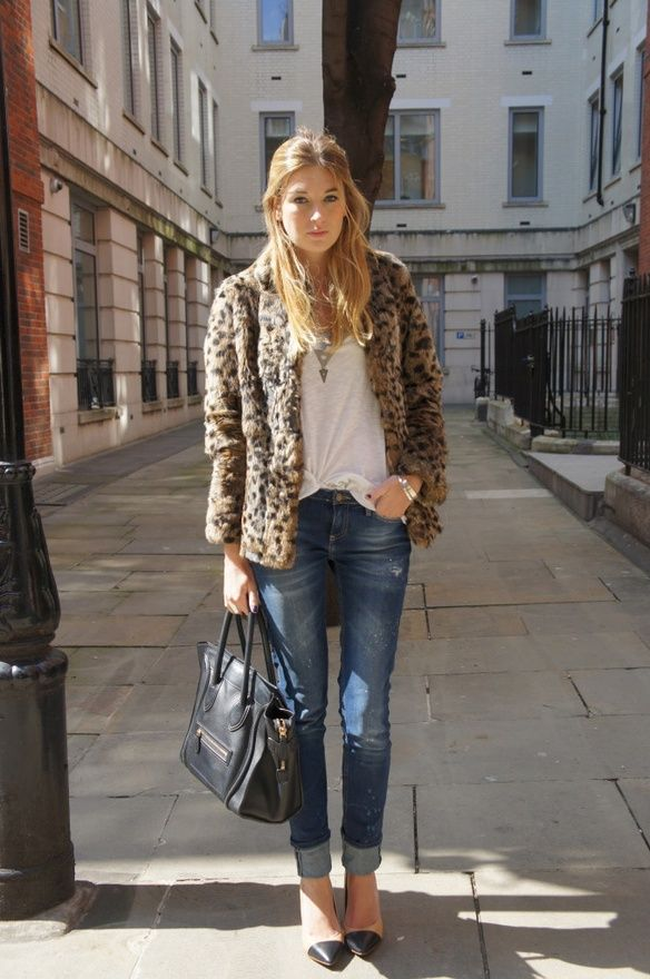 jeans and a furry leopard jacket