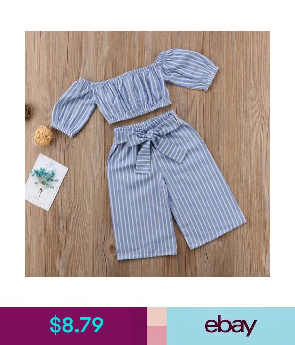 $8.79 - Baby Kids Girls Off-Shoulder Tops T-Shirt Casual Stripe Bowknot Pants Outfits #ebay #Fashion