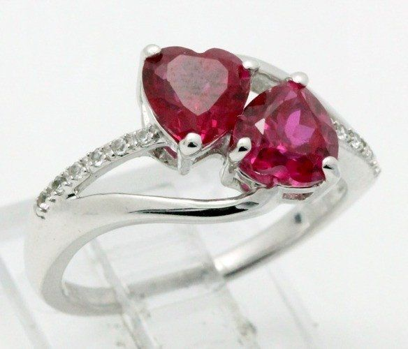 .925 Sterling Silver & 18k White Gold, 2.06ctw Ruby & White Sapphire Designer Authentic ColoreSG by LORENZO