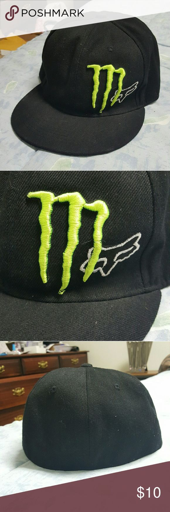 Mens 6 3/4 Monster Energy Fox Racing baseball cap Mens size 6 3/4 Monster Energy Fox Racing baseball cap.  Black with green and white logos. I dont remember ever wearing it but it has no tags. Like new condition. Fox Racing Other