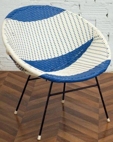 fauteuil loveuse 39 scoubidou 39 bleu et blanc ann es 50 60 ann es vintage 1940 1960 pinterest. Black Bedroom Furniture Sets. Home Design Ideas