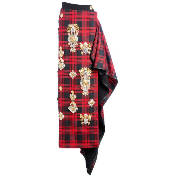 Hollywood Embroidered Tartan Long Skirt ($18,140) ❤ liked on Polyvore featuring skirts, fausto puglisi, modaoperandi, embroidered long skirts, tartan plaid skirt, embroidered maxi skirt, ankle length skirt and tartan skirt