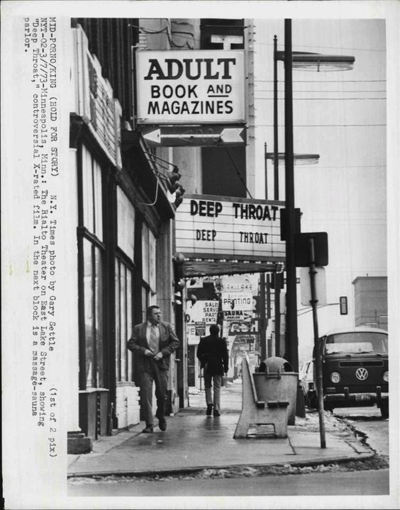 Rialto Theater, Minneapolis, 1973 (by Gary Settle) Wish I had been able to include this photo in my Twin Cities Picture Show book. The old Rialto Theater, owned by Ferris Alexander, was ground zero of the Twin Cities porn wars during the 1970s. Gotta love the guy (maybe a Rialto patron?) who appears to be checking the status of his fly. Photo via Old Minneapolis
