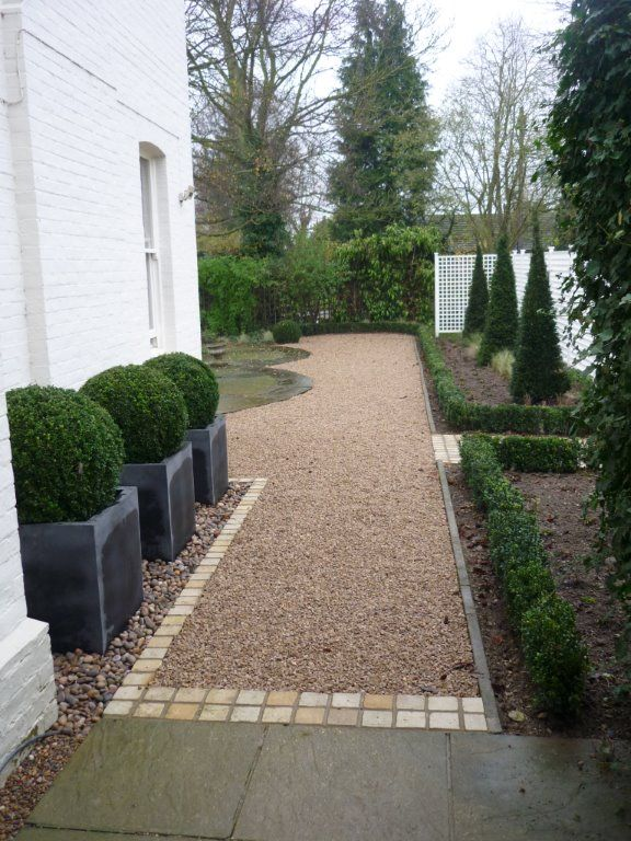 taxus pyramids | Faux lead planters box hedge taxus pyramids and timber trellis