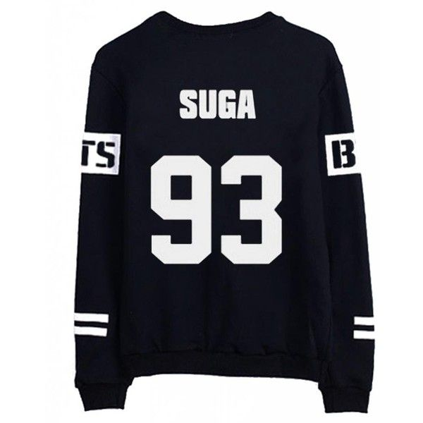 BTS Bangtan Boys Black Hoody Sweater Pullover Shirt (65 PLN) ❤ liked on Polyvore featuring tops
