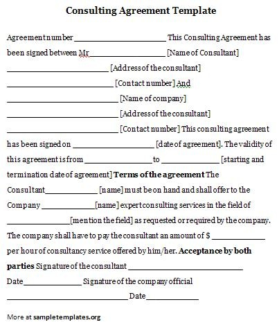 Consulting agreement template consulting agreement for It consulting contract template