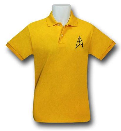 I think the Star Trek Command Uniform Polo Shirt was made out of some left over dilithium crystals...wait, no the tag says 50% cotton 50% polyester! Suppose we ran out of dilithium when we made that proto-type warp core. The Star Trek Command Uniform Polo Shirt is a yellow polo styled t-shirt featuring a felt Starfleet Command Insignia which you may recognize as Captain Kirk's symbol/ color! That man made the color yellow command respect! See what I did there? <br>