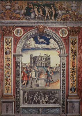 Aries, Ratto di Europa  Autore: Giovanni Maria Falconetto (1468-1535)  Datazione: 1520 ca.  Collocazione: Mantova, palazzo D'Arco, Sala dello Zodiaco, parete settentrionale, fregio al di sopra del riquadro dell'Ariete