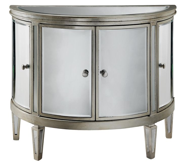 Four Door Demilune Chest With Mirrored Panels. Product: ChestConstruction  Material: Mirrored Glass And Painted MDFColor: Champagne SilverFeatures:  Four ...