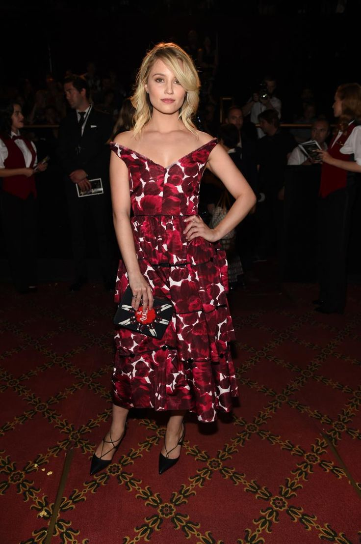 Dianna Agron wearing Aquazzura Christy Lace-Up Pumps and Olympia Le-Tan Embroidered the Red Shoes Book Clutch